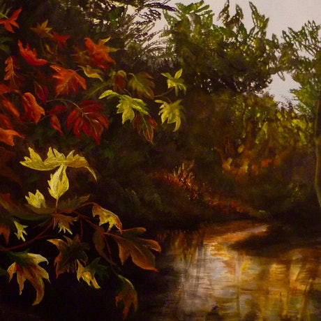 (CreativeWork) Autumn Afternoon by Cathy Yarwood - Mahy. Acrylic Paint. Shop online at Bluethumb.
