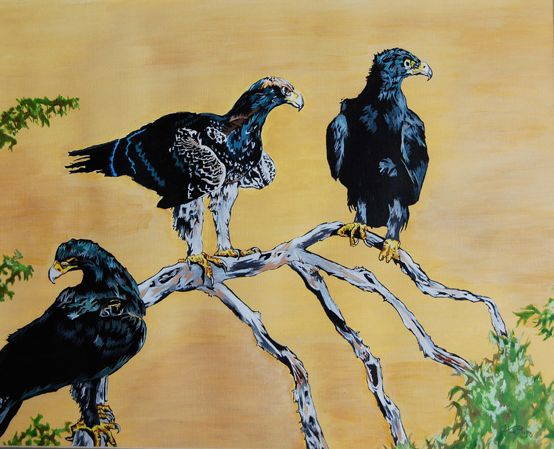 (CreativeWork) Black eagles ( the hunters ) by Hiten Mistry. arcylic-painting. Shop online at Bluethumb.