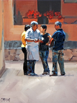 (CreativeWork) Serious Conversations by Claire McCall. Oil Paint. Shop online at Bluethumb.
