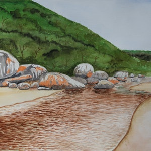 (CreativeWork) Tidal River Rock Formations (Wilson's Promontory, Victoria) by Romesh Senewiratne. watercolour. Shop online at Bluethumb.