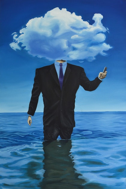 (CreativeWork) Head in the clouds by Benjamin Noah. oil-painting. Shop online at Bluethumb.
