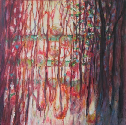 (CreativeWork) Through the forest by Jane Welsh. arcylic-painting. Shop online at Bluethumb.