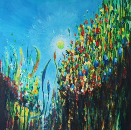 (CreativeWork) Guided by the light by Jane Welsh. arcylic-painting. Shop online at Bluethumb.