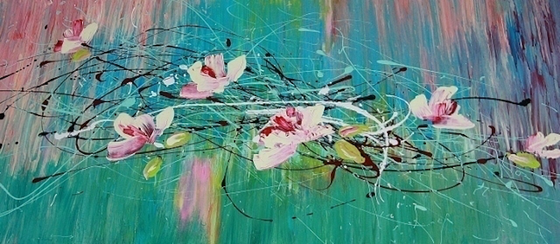 """(CreativeWork) """"Magnolia Blossoms"""" by Terina Jones. arcylic-painting. Shop online at Bluethumb."""