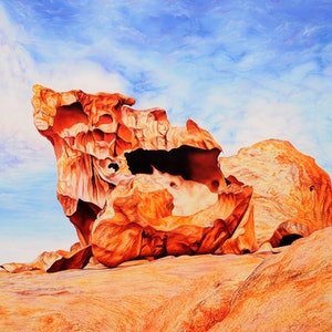 (CreativeWork) Rock Of Ages by Luna Vermeulen. oil-painting. Shop online at Bluethumb.
