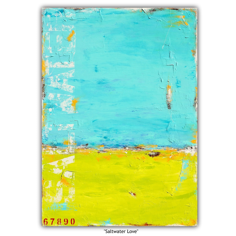 "(CreativeWork) ""Saltwater Love"" (abstract landscape) by Sabina D'Antonio. mixed-media. Shop online at Bluethumb."