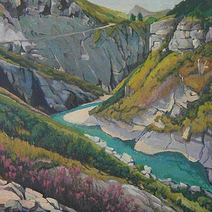 (CreativeWork) Skippers Gorge by Mac Monks. arcylic-painting. Shop online at Bluethumb.