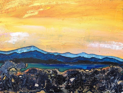 (CreativeWork) First Light by Christine Moore. mixed-media. Shop online at Bluethumb.