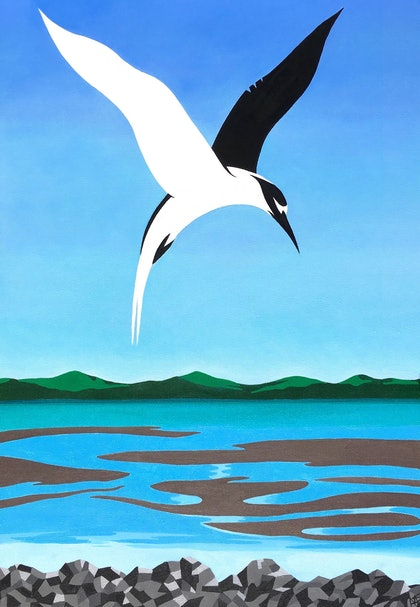 (CreativeWork) Tern Over Moreton Bay 2017 by May Sheppard. arcylic-painting. Shop online at Bluethumb.