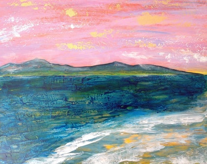 (CreativeWork) Time and Tide by Christine Moore. mixed-media. Shop online at Bluethumb.