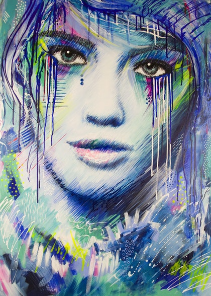 (CreativeWork) Big Girls Don't Cry by Kate Fisher. arcylic-painting. Shop online at Bluethumb.