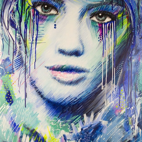 (CreativeWork) Big Girls Don't Cry by Kate Fisher. Acrylic Paint. Shop online at Bluethumb.