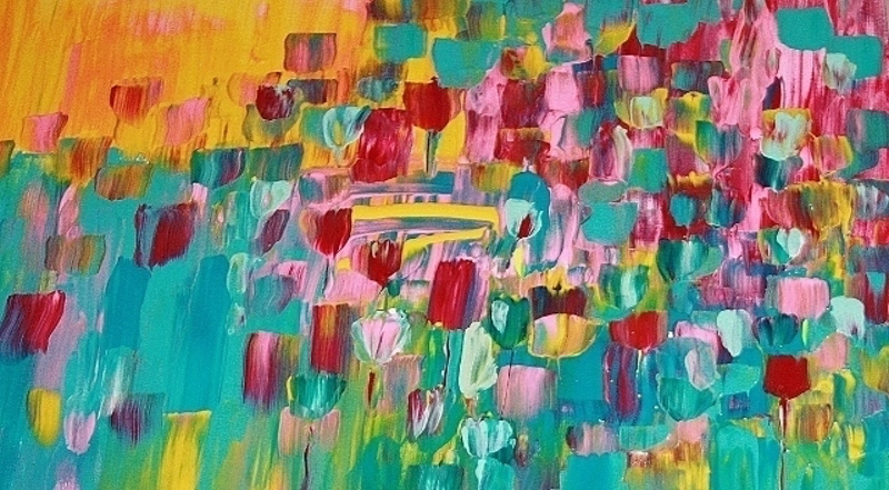 "(CreativeWork) ""Morning walk through the flowers"" by Terina Jones. arcylic-painting. Shop online at Bluethumb."