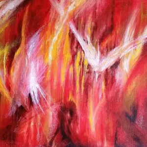 (CreativeWork) Inner Red by Jodie Price. arcylic-painting. Shop online at Bluethumb.