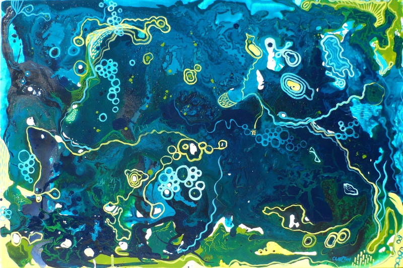 (CreativeWork) Earth Buzz by Susan Curtin. mixed-media. Shop online at Bluethumb.