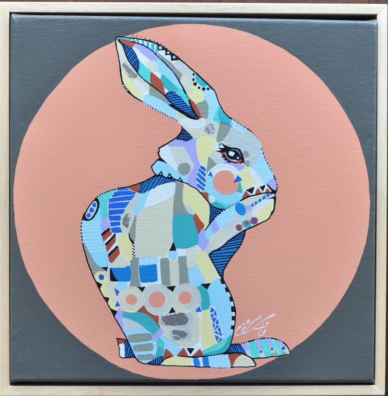 (CreativeWork) Patterned Rabbit by Tamara Armstrong. acrylic-painting. Shop online at Bluethumb.