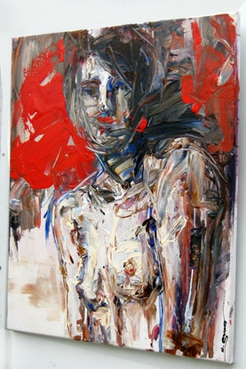 (CreativeWork) Red Woman by Nina Smart. Acrylic Paint. Shop online at Bluethumb.