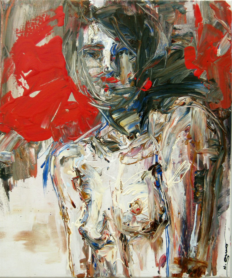 (CreativeWork) Red Woman by Nina Smart. acrylic-painting. Shop online at Bluethumb.