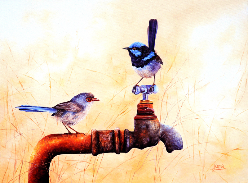 (CreativeWork) Local Watering Hole by Luna Vermeulen. oil-painting. Shop online at Bluethumb.