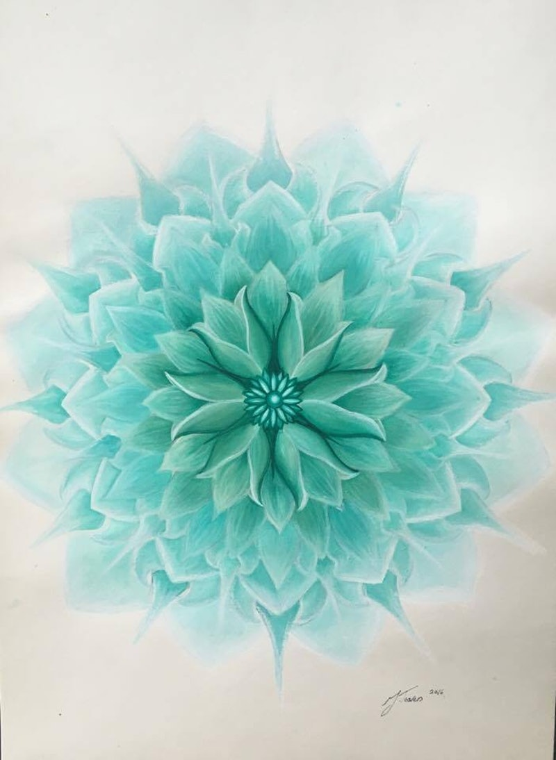 Turquoise lotus flower unframed by jessica towers paintings for shop creativework turquoise lotus flower unframed by jessica towers watercolour shop izmirmasajfo