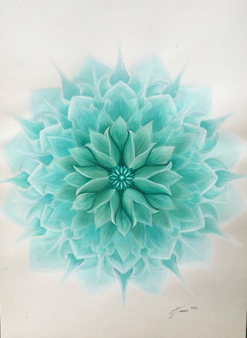 Turquoise Lotus Flower Unframed By Jessica Towers Paintings For
