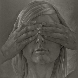 (CreativeWork) Hidden Faces - Kym (framed) by Daevid Anderson. drawing. Shop online at Bluethumb.