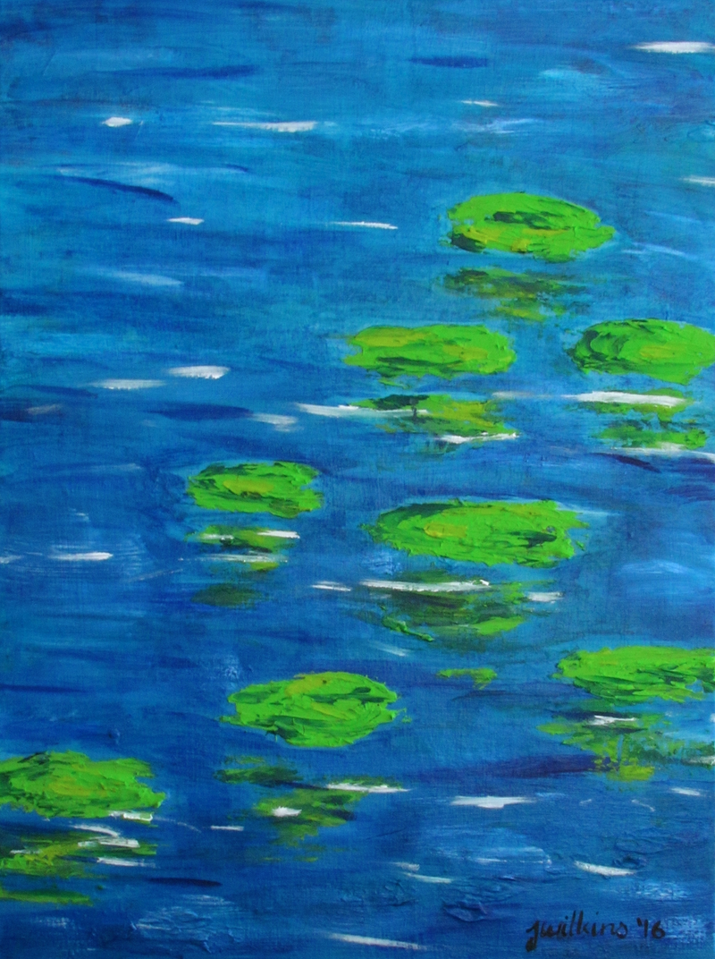 (CreativeWork) Lilypad Reflections by Jazmin Wilkins. arcylic-painting. Shop online at Bluethumb.