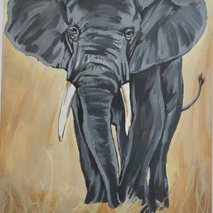 (CreativeWork) watchful elephant by Hiten Mistry. arcylic-painting. Shop online at Bluethumb.