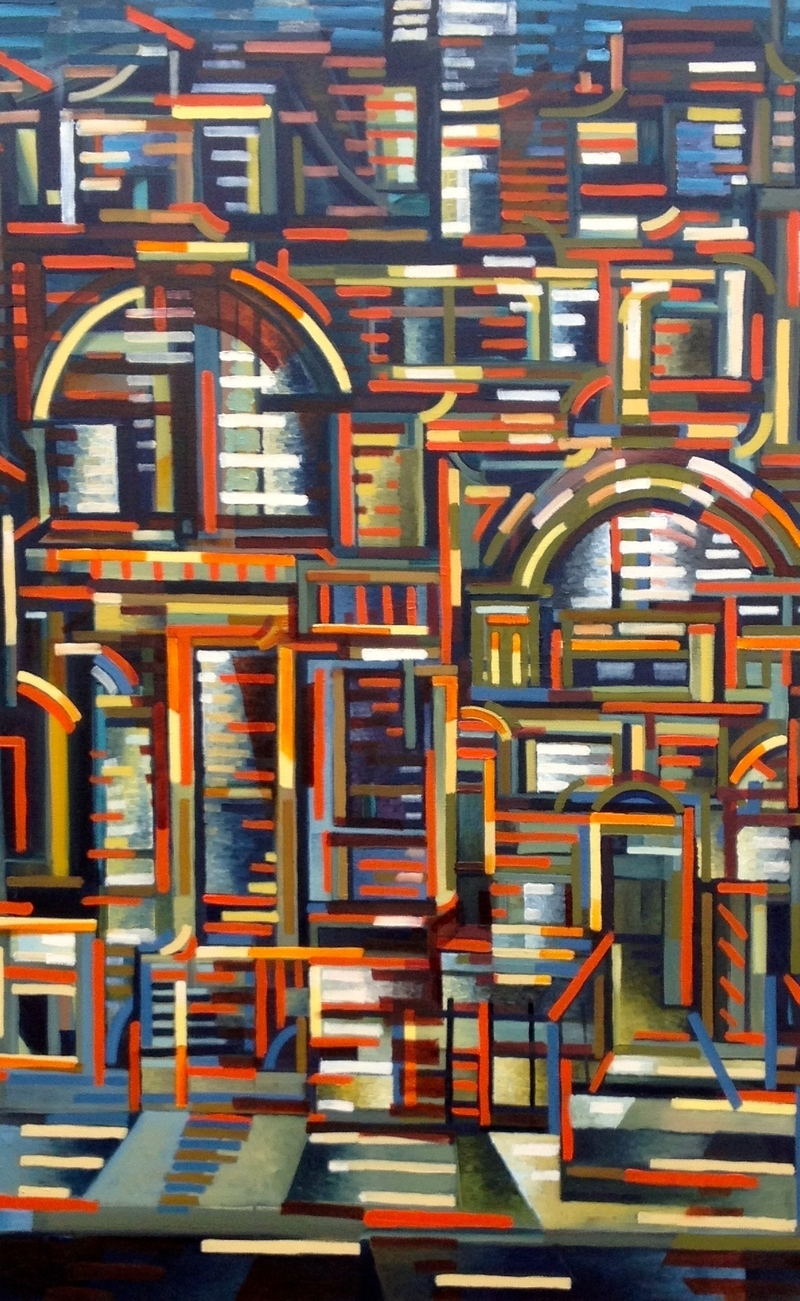 (CreativeWork) Collins St by D.M. (David Martin) Ross. oil-painting. Shop online at Bluethumb.