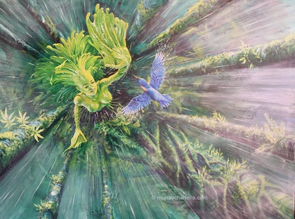 (CreativeWork) Athyrium: The Essence of Life by Murray Charteris. arcylic-painting. Shop online at Bluethumb.