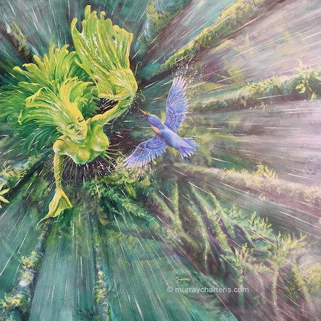 (CreativeWork) Athyrium: The Essence of Life by Murray Charteris. Acrylic Paint. Shop online at Bluethumb.