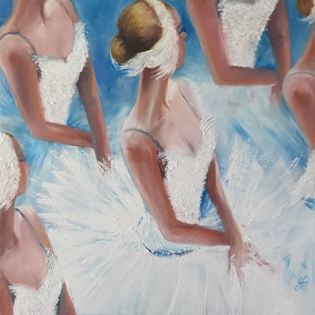 (CreativeWork) Swan Lake by Jan Brown. Oil Paint. Shop online at Bluethumb.