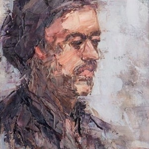 (CreativeWork) PENSIVE by Melanie Bardolia. oil-painting. Shop online at Bluethumb.