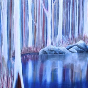 (CreativeWork) The Billabong by Fiona Taylor. oil-painting. Shop online at Bluethumb.