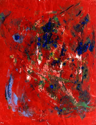 (CreativeWork) Blood Red (1976) by Estelle Asmodelle. Acrylic Paint. Shop online at Bluethumb.