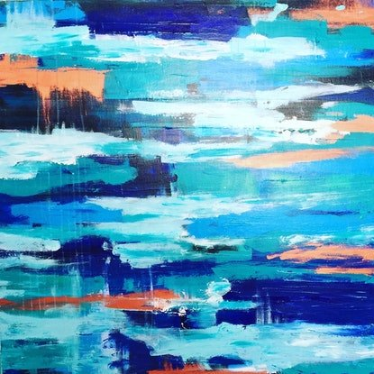 (CreativeWork) A Day on Teal Bay by Sabi Klein. Acrylic Paint. Shop online at Bluethumb.