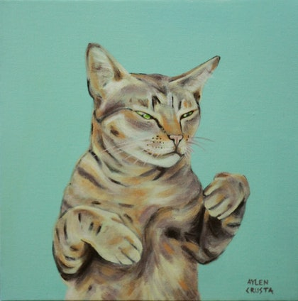 (CreativeWork) Rumba Cat by Aylen Crusta. arcylic-painting. Shop online at Bluethumb.