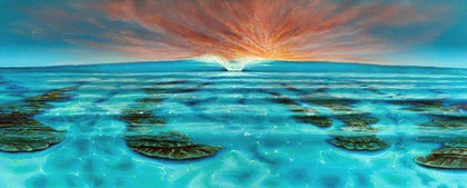 (CreativeWork) Turquoise Waters by Wayne French. oil-painting. Shop online at Bluethumb.