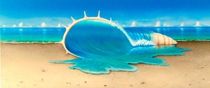 (CreativeWork) Morphing Sea Shell by Wayne French. oil-painting. Shop online at Bluethumb.