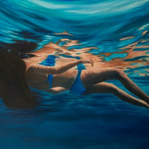 (CreativeWork) Rhapsody in Blue by Mia Laing. oil-painting. Shop online at Bluethumb.