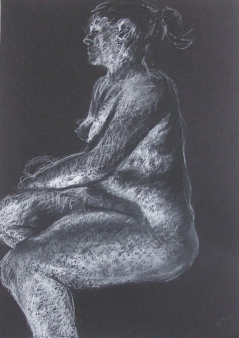 (CreativeWork) Life Drawing - Young Lady Sitting with Ponytail by Ishbel Morag Miller. drawing. Shop online at Bluethumb.
