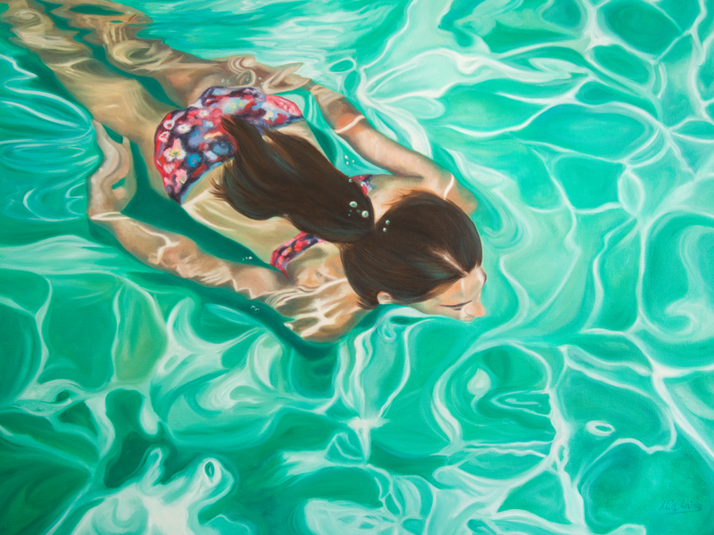 (CreativeWork) Iridescent Sea by Mia Laing. oil-painting. Shop online at Bluethumb.