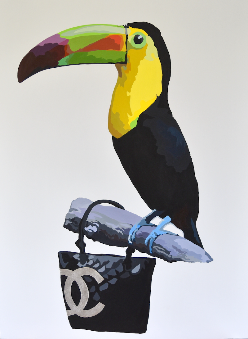 (CreativeWork) PERCHED ON COCO CHANEL by Jacqui Stewart by Jacqui Stewart. acrylic-painting. Shop online at Bluethumb.