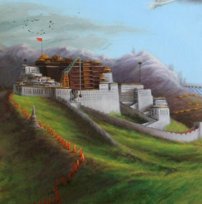 (CreativeWork) Between Dharamsala and Beijing by Steven Makse. Oil Paint. Shop online at Bluethumb.