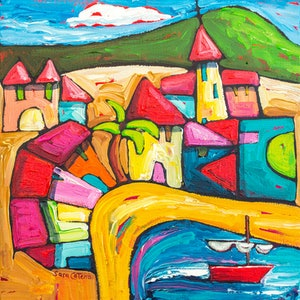 (CreativeWork) Village San Andres, Tenerife, Spain by Sara Catena. arcylic-painting. Shop online at Bluethumb.