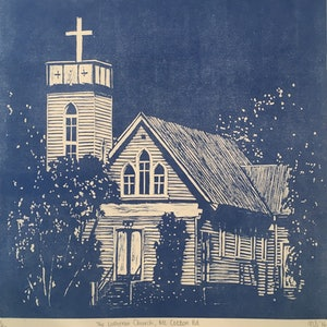 (CreativeWork) The Lutheran Church in Mount Cotton Rd.   - Certificate of Authenticity  Ed. 2 of 50 by Natasha Scott. print. Shop online at Bluethumb.