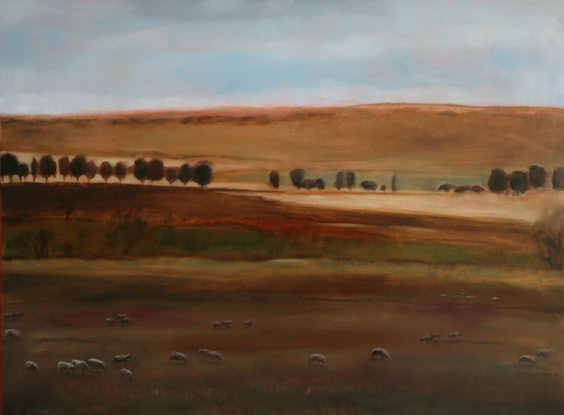 (CreativeWork) Snow ward bound 2 by Kate Gradwell. Oil Paint. Shop online at Bluethumb.