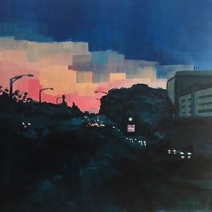 (CreativeWork) Lights at dusk by Sarah Simpson. arcylic-painting. Shop online at Bluethumb.