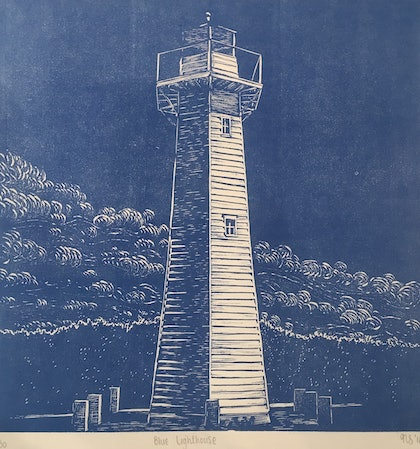 (CreativeWork) Blue Lighthouse  - Certificate of Authenticity  Ed. 2 of 50 by Natasha Scott. print. Shop online at Bluethumb.