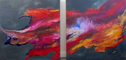 (CreativeWork) Follow The Dream  (diptych)  by Vera Ioannidi. mixed-media. Shop online at Bluethumb.